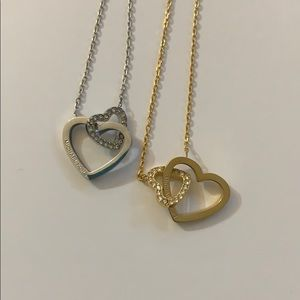 Set of 2 Double Heart Crystal Necklaces